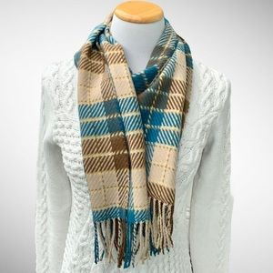 D&Y Plaid Rectangular Scarf with Fringe